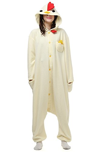 Laidisi Novelty Costumes Pyjamas Unisex Adult One-Pieces Cosplay Jumpsuit White Chicken (Chicken Hoodie Adult Costumes)