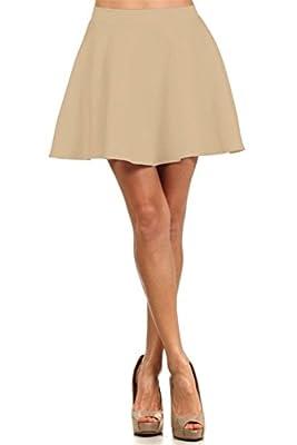 Simlu Skater Skirt for Women Short Stretch Flared Skirts Elastic Waistband Made in USA