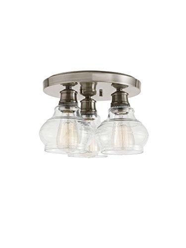 Lighting Flush Kichler (Kichler  48104CLP Schoolhouse 3-Light Flush Mount, Classic Pewter)