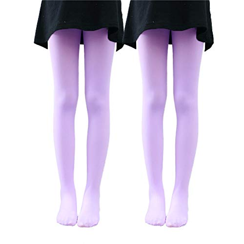 Ehdching 2 Pack Pink Kids Girls Baby Soft Footed Microfiber Ballet Dance Tights Velvet Stockings Pantyhose (Light purple M(4-6years))