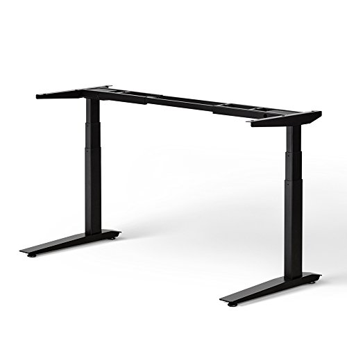 Jarvis Standing Desk Frame Only - Electric Adjustable Height Sit Stand Desk - 3-Stage Extended Range Frame with Memory Preset Handset Controller - Desk Top Not Included (Black, Extended Range) (Top Desk)