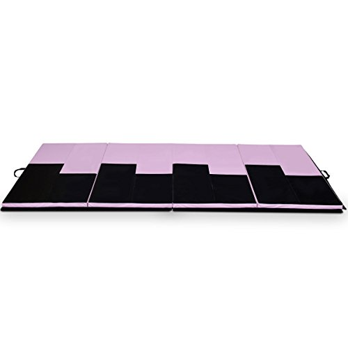 COSTWAY 4'X10'X2 Gymnastics Mat Folding Portable Aerobics Exercise Gym Fitness, Pink/Black by COSTWAY (Image #2)