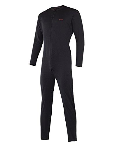 Terramar Men's Military Fleece Stretch Comfort Zip union suit, Black, Large