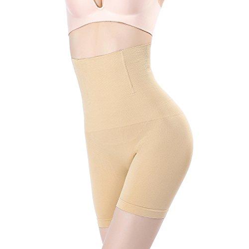 (MUKATU High Waist Tummy Control Panties Bodyshaper Thigh Slimmer Shapewear for Women,Beige,M/L)