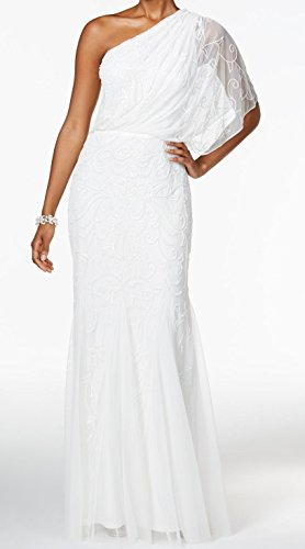 Embellished One Shoulder Gown - Adrianna Papell Womens Embellished One-Shoulder Gown White 10