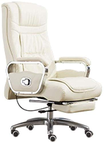 WYKDL Ejecutivo giratoria ajustable silla giratoria de oficina con brazos soporte lumbar Escritorio Silla ergonomica de hogar moderno minimalista reclinables silla de oficina estudio de cuero de la PU