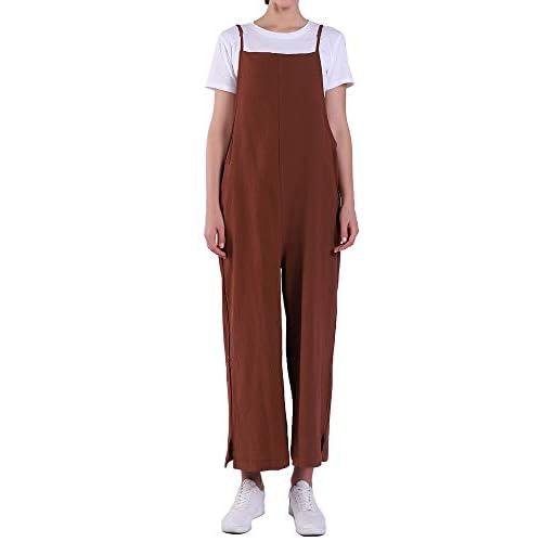 Casual Long Rompers Wide Leg Baggy Bibs Overalls Harem Pants Womens Jumpsuits Plus Cotton Linen Jumpsuits Black