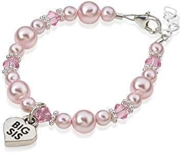 Crystal Dream Elegant Big Sister Heart Silver Charm with Pink Swarovski Simulated Pearls Keepsake Child Girl Bracelet (BBSM)