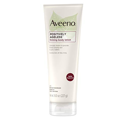 31yc4n18IGL - Aveeno Positively Ageless Anti-Aging Firming Body Lotion with Shiitake Mushroom complex & Wheat Protein,Lightweight &Non-Greasy Daily Moisturizing Lotion to help Improve Skin Elasticity & Texture,8 oz
