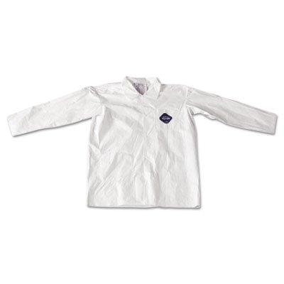 Tyvek Lab Coat, White, Snap Front, 2 Pockets, Large, 30/Carton