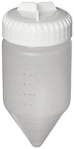 Nalgene 3143-0175 Polypropylene Copolymer Conical-Bottom 175mL Centrifuge Bottle with Polypropylene Screw Closure/Silicone Gasket (Pack of 4)