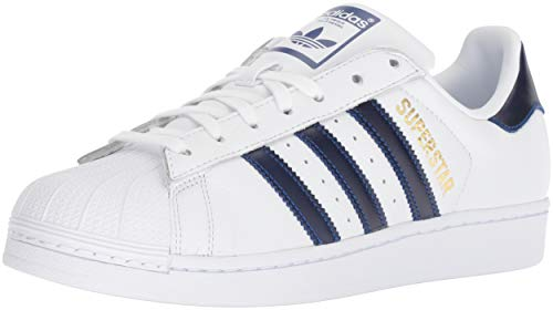 adidas Originals Men's Superstar Sneaker Running Shoe, White/Collegiate Royal/Gold Metallic, 9.5 M US