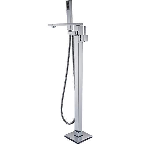 Senlesen Roman Chrome Finish Free Standing Tub Filler Floor Mount Bathtub Shower Faucet with Handheld Sprayer ()