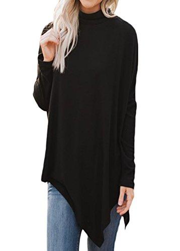 Shawhuwa Womens Oversized Fleece Poncho High Neck Sweater Tops Knitwear XXL Black (Turtleneck Poncho)