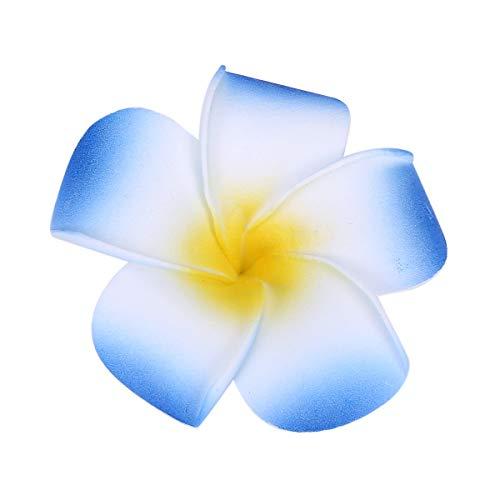 Sealike 100 Pcs Diameter 2.4 Inch Artificial Plumeria Rubra Hawaiian Flower Petals For Wedding Party Decoration with Stylus Blue