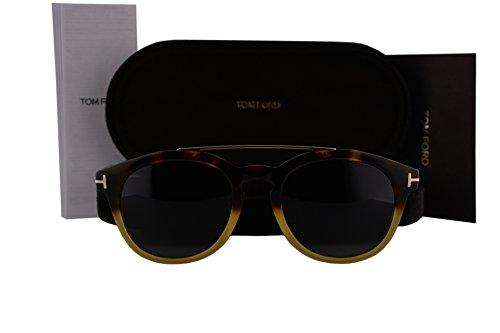 Yellow Havana Sunglasses (Tom Ford FT0515 Newman Sunglasses Havana Yellow Gold w/Dark Green Lens 56N)