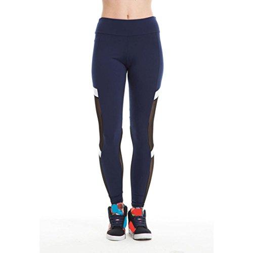Pantaloni sottili Yoga da donna alti Vovotrade Calzamaglia sexy della maglia delle ghette di sport di forma fisica (L, Marina Militare)
