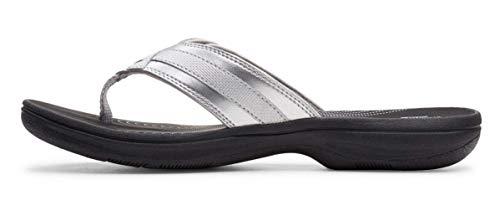 Clarks Women's Breeze Sea Flip-Flop Silver Limited Edition Black, 7 M US