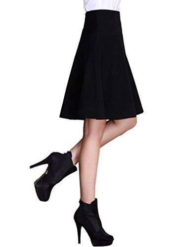 Beautifulmall Women's Winter Classic Wool High Waisted Pocket Solid Long Midi Skirt