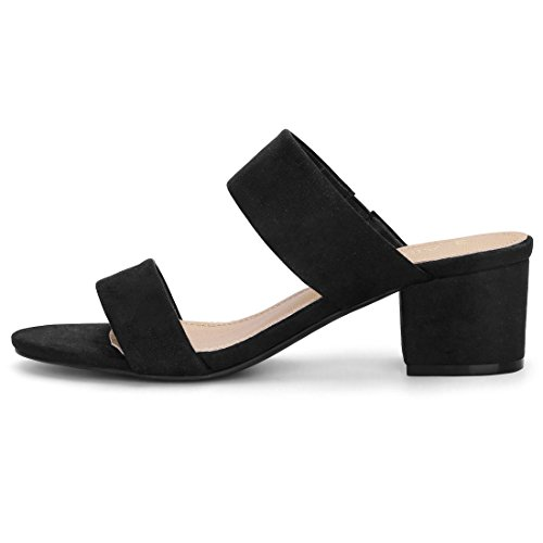 Allegra K Women's Block Heel Dual Straps Slide Sandals Black EWOyVr3lSA