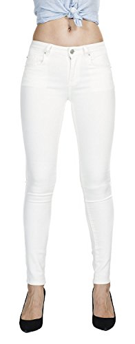 Megan apparel Women's White Color Super Comfy Stretch Denim Skinny Jeans,White,9