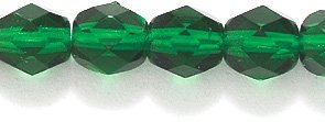 - Preciosa Czech Fire 6 mm Faceted Round Polished Glass Bead, Transparent Dark Christmas Green, 150-Pack
