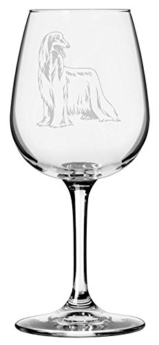 Afghan Hound Dog Themed Etched 12.75oz Libbey Wine Glass