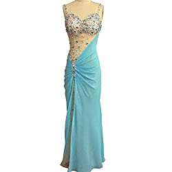 Long Sweetheart Neck With Beaded Crystal Chiffon