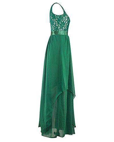Sin ZhuiKun Elegante de Fiesta Vestido Larga de Vestido Mangas Encaje Verde Mujer xRwI6YqnrR