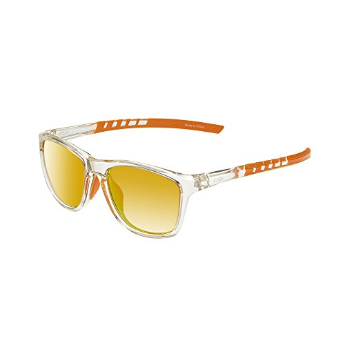 JOJE Polarized Sports Sunglasses for men women Baseball Running Cycling Fishing Golf Tr90 Superlight Frame J8001 (Transparent Frame Orange REVO Lens) by JOJEN