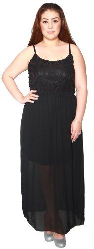 Libian Jr Plus Size Spaghetti Floral Laced Bodice Sheer Dress (3X, Black) (Laced Bodice)