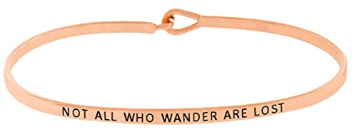 Glamour Girl Gifts Collection Inspirational NOT All WHO Wander are Lost Positive Mantra Message Thin Bangle Hook Bracelet (Rose Gold)