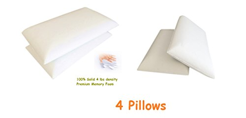 Dust Night 111 - 4 Quantity Queen Size Deluxe Premium White Therapeutic Comfort Relax High Grade Solid Memory Foam Bed Pillows