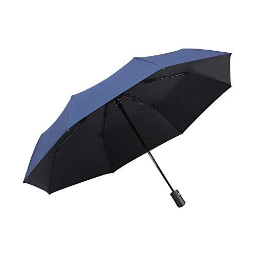 Handle Full Length Reinforcement Rib - Heitaisi Portable Compact Travel Umbrella - Folding Umbrella with Fully Automatic Open/Close Button, Windproof Reinforced Canopy, Ergonomic Handle, UV Protection Sun Umbrella