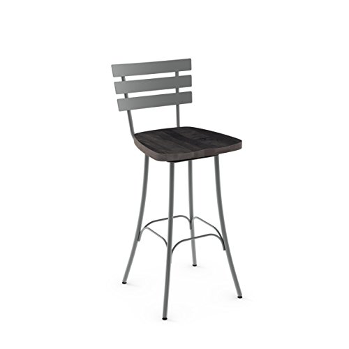 (Amisco Stadium Swivel Metal Barstool in Glossy Grey Metal and Medium Dark Gray Distressed Wood)