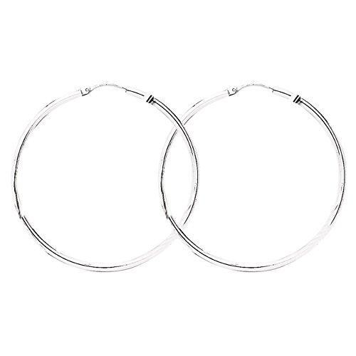 So Chic Bijoux © Boucles d'oreilles Femme Créoles Diamètre 45 mm Fil Rond 2 mm Or Blanc 750/000 (18 carats)