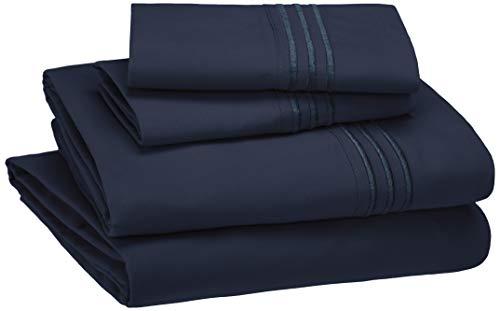 AmazonBasics Embroidered Hotel Stitch Sheet Set - Premium, Soft, Easy-Wash Microfiber - Queen, Navy Blue
