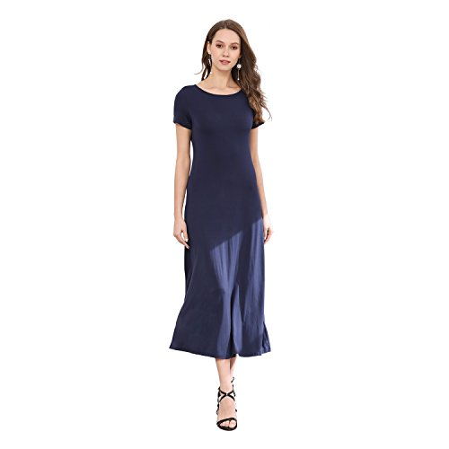 Mtstyle Women's Basic Round Neck Short Sleeve Casual Maxi Long Dress Navy XL 18WB003
