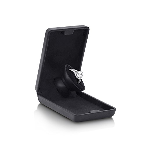 Noble Flat and Slim Pop-the-Question Jewelry Engagement Ring Box with Secret Surprise Elements (Deep Charcoal Black) by Noble (Image #2)