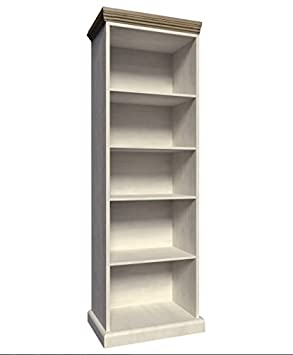 Tall Narrow Ash Bookcase - Finished In White And Oak - Hard Wearing  Melamine Surface -
