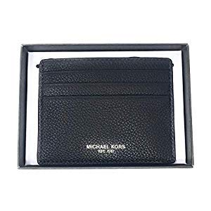 715bac099a44 Michael Kors Mens Slim Leather Card Case Wallet (Black Leather) at ...