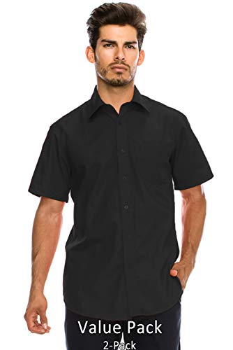 JC DISTRO Value Pack Men's Regular-Fit Short Sleeve Dress Shirt, Black Shirts (XL)