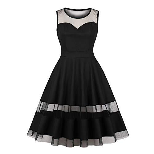 - Wellwits Women's Sweetheart Mesh Insert High Waist 1950s Vintage Dress 2XL Black