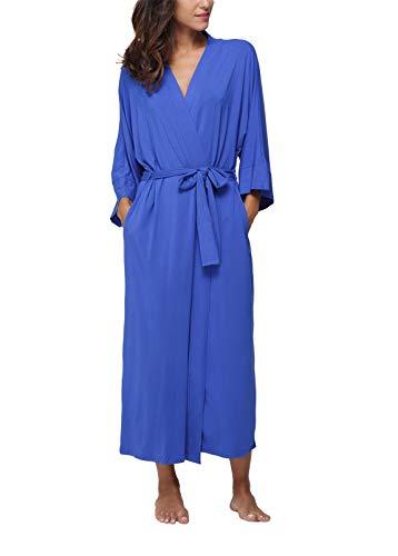 Women's Full Length Kimono Robes,Long Bathrobes Soft Dressing Gown Loungewear (Long Super Robe Soft)