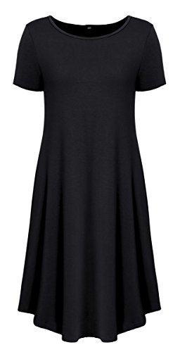 Long With Delcoce XL Shirts Women's Loose Short Short Casual S Black T Sleeve Dress Pockets cWzER4W
