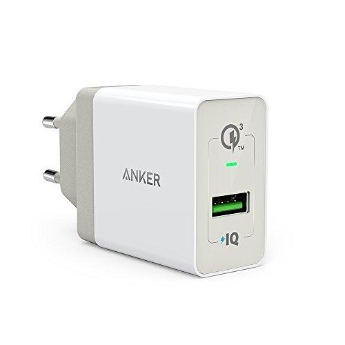 Anker PowerPort+ 1 Quick Charge 3.0 18W USB Wand Ladegerät mit Power IQ für Galaxy S7 / S6 / Edge / Plus, Note 5 / 4, LG G4, HTC One A9 / M9, Nexus 6, iPhone 7 6 5, iPad und weitere (Weiß)