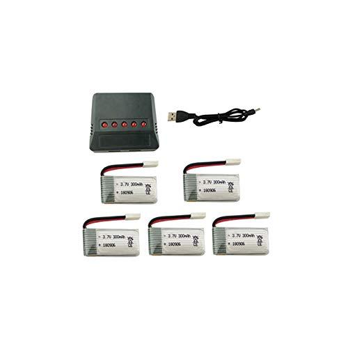 Edtara 3.7V 300mAh Batería de Litio con Cargador 5 en 1 para H8 H22 Eachine H8, Mini Quadcopter Repuestos Drone Cargador de...