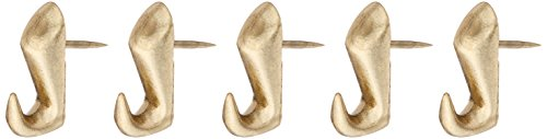 Hillman Fasteners 122206 10-Pound Push Pin Hanger, Brass Finish (Pack of 5) from Hillman