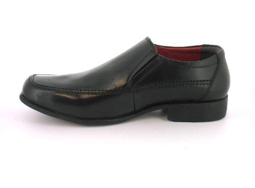 NUOVO da uomo / uomo nero pelle SCARME eleganti, Slip-on calzata più ampia nero / ROSSO FODERA - NUMERI UK 6-14