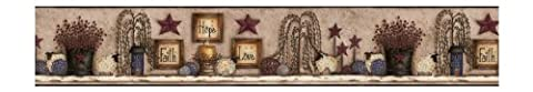 York Wallcoverings Best Of Country CN1137BD Faith Hope Love Shelf Border, Beige With Blues (Wallpaper Country)